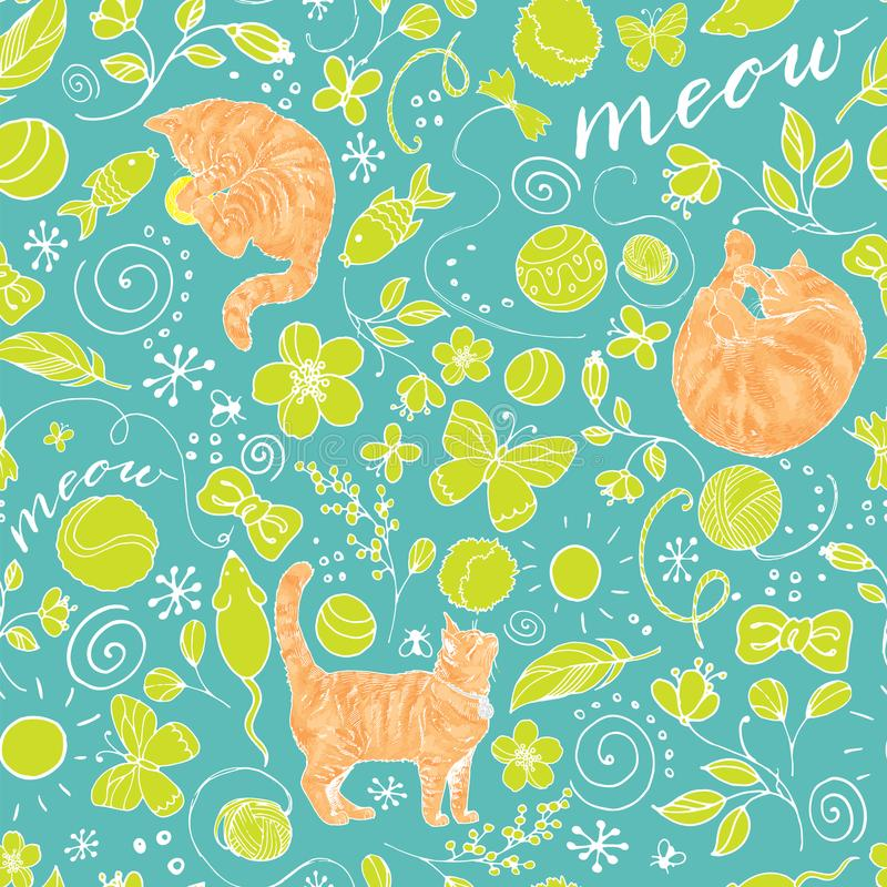Teste padrão colorido sem emenda com os gatos vermelhos no fundo de turquesa ilustração royalty free