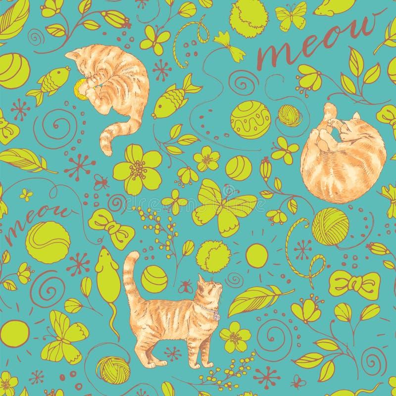 Teste padrão colorido sem emenda com os gatos vermelhos no fundo de turquesa ilustração do vetor