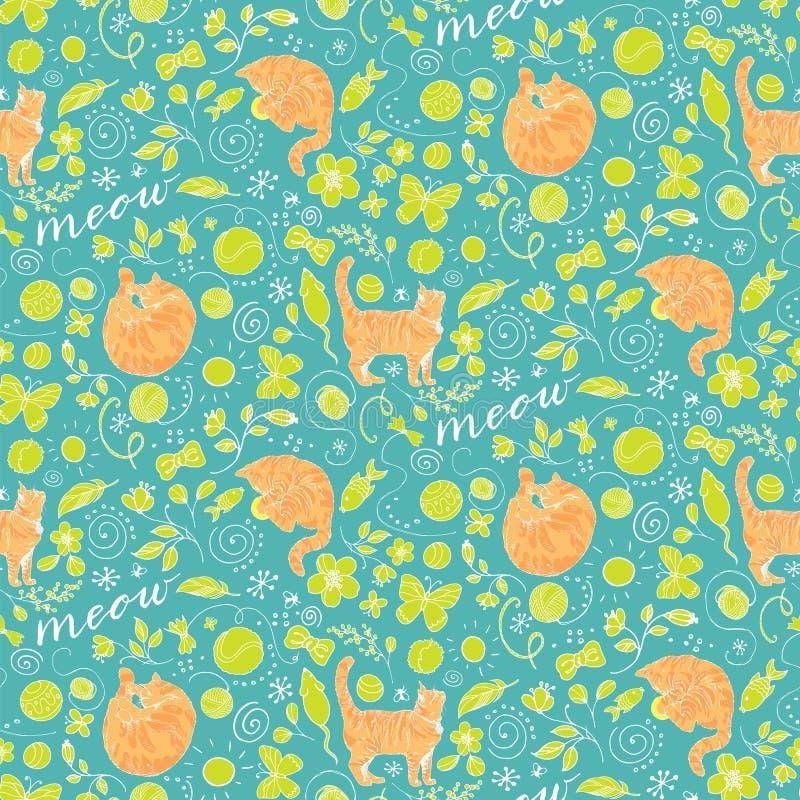 Teste padrão colorido sem emenda com os gatos vermelhos no fundo de turquesa ilustração stock