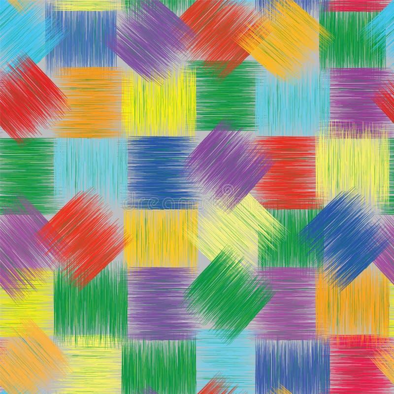 Teste padrão colorido sem emenda com quadrados listrados do grunge ilustração stock