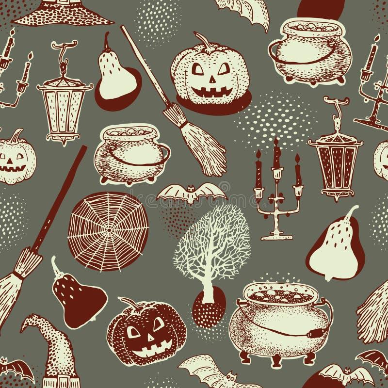 Teste padrão colorido sem emenda de Dia das Bruxas com ilustrações festivas de Dia das Bruxas Projeto para o papel de envolviment ilustração do vetor