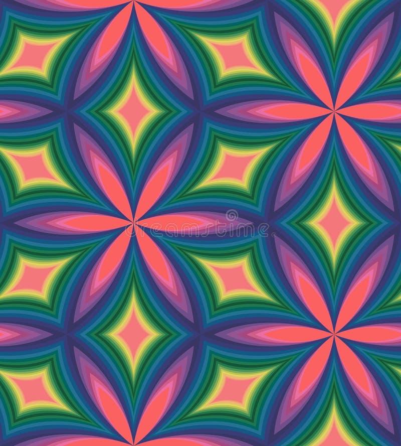 Teste padrão colorido sem emenda de diamantes curvados Fundo abstrato geométrico Efeito visual do volume ilustração royalty free