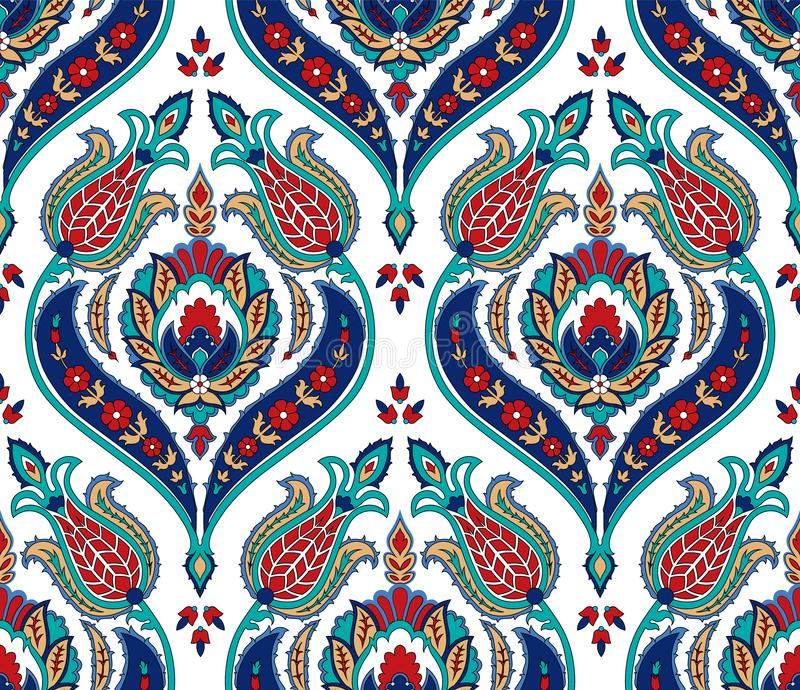 Teste padrão colorido sem emenda do vetor no estilo turco Fundo decorativo do vintage Ornamento desenhado mão Islã, árabe ilustração do vetor
