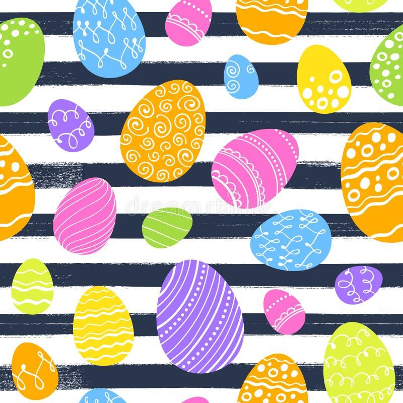 Teste padrão colorido sem emenda dos ovos da páscoa Fundo do vetor ilustração stock