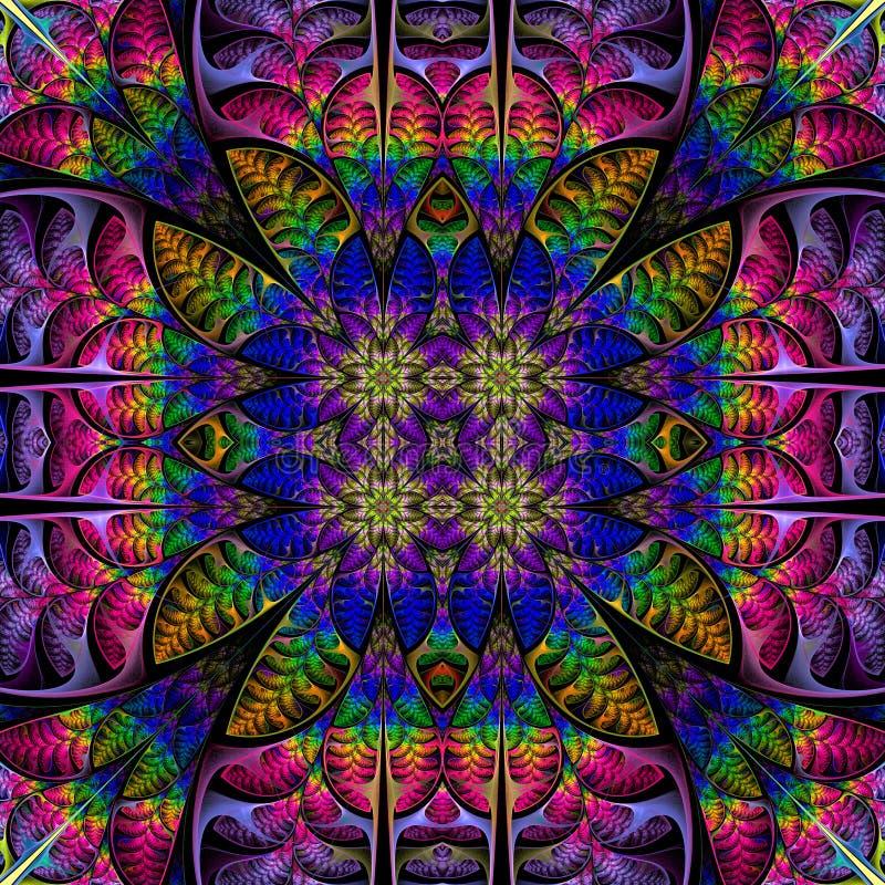 Teste padrão colorido simétrico das folhas Coleção - folha da árvore no preto ilustração stock