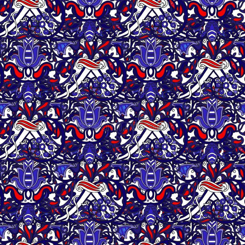 Teste padrão colorido turco sem emenda O teste padrão infinito pode ser usado para o azulejo, papel de parede, linóleo, matéria t ilustração stock