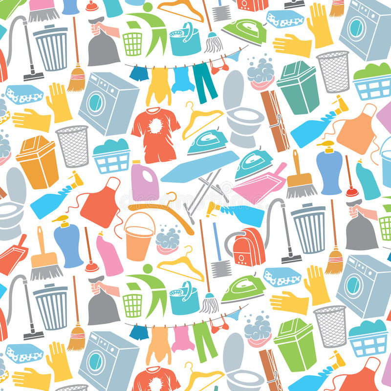 Teste padrão com ícones da lavanderia e da limpeza ilustração do vetor
