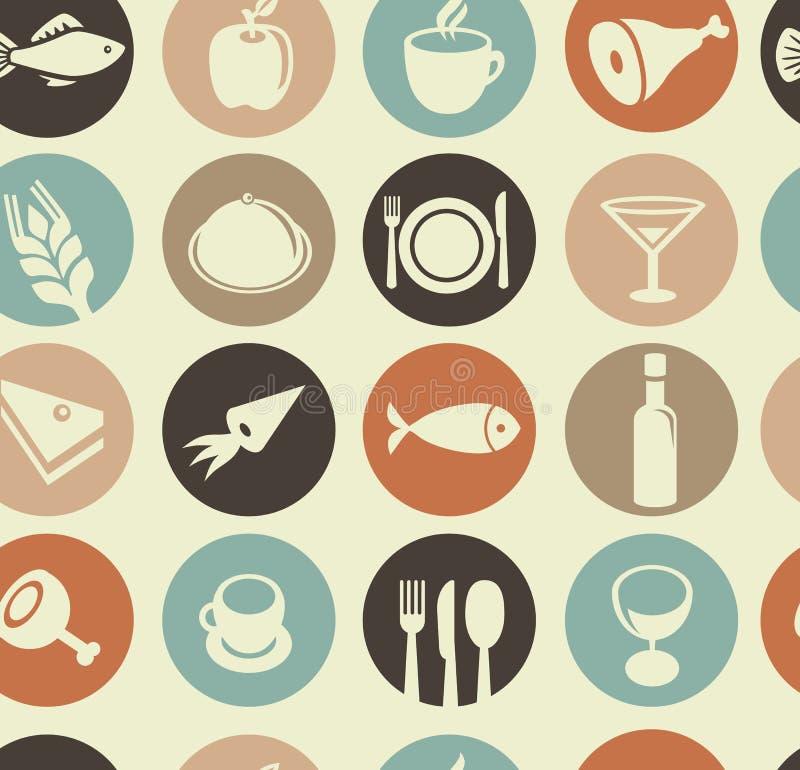 Teste padrão com ícones do restaurante e do alimento ilustração stock