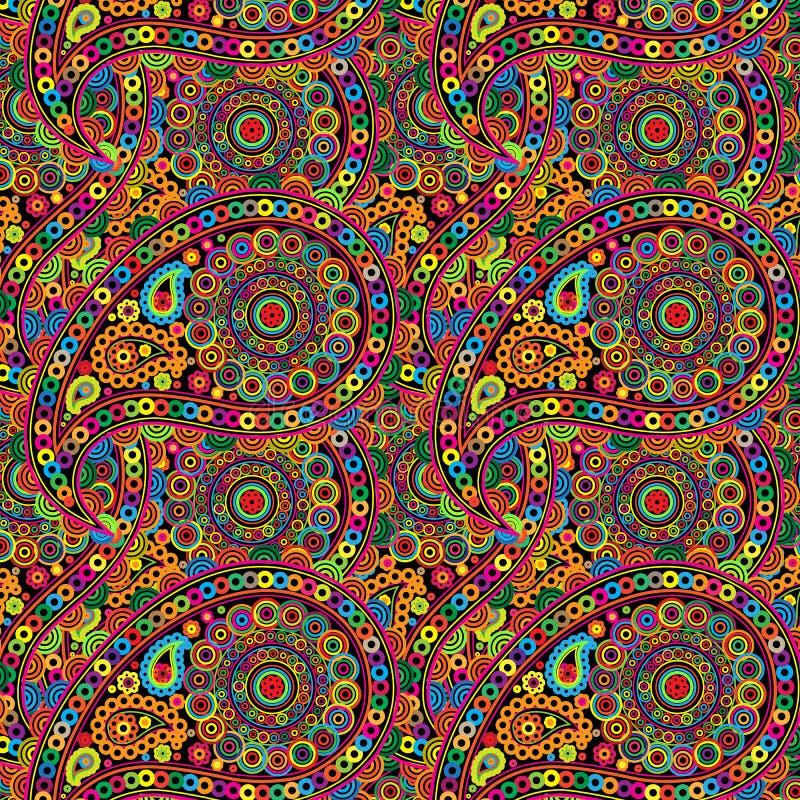 Teste padrão com Índia do elemento, projeto, elementos que repetem em um círculo ilustração stock