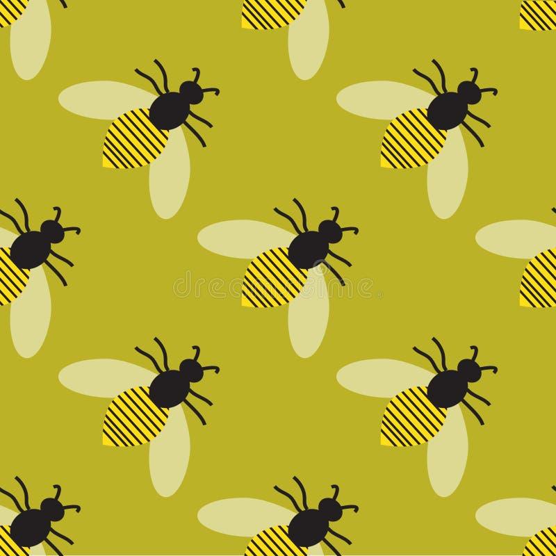 Teste padrão com abelhas ilustração royalty free