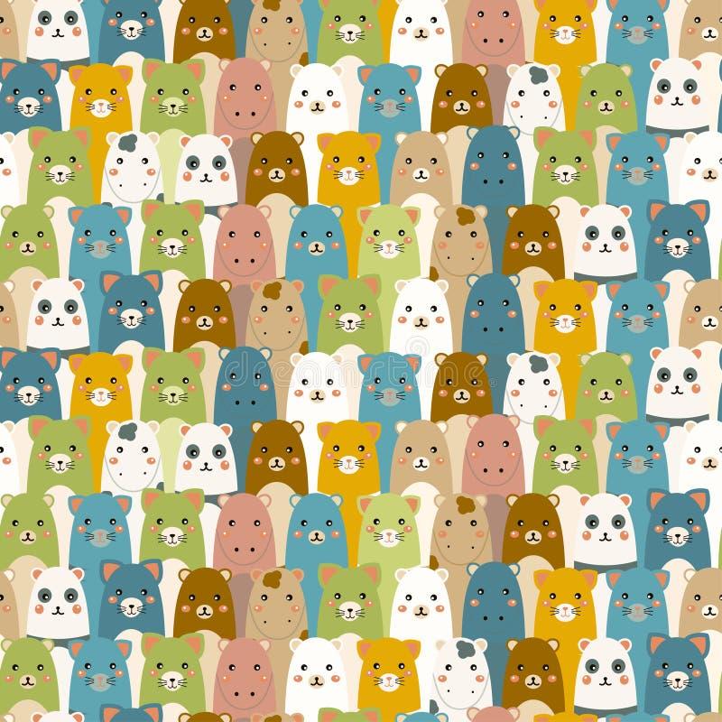 Teste padrão com animais dos desenhos animados. ilustração royalty free