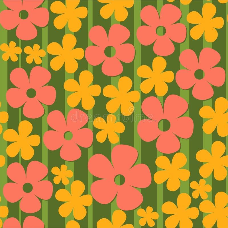 Teste padrão com as flores coloridas ilustração do vetor