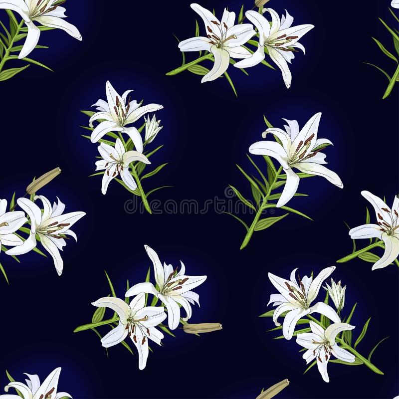 Teste padrão com as flores do lírio branco em um fundo azul Vetor ilustração stock