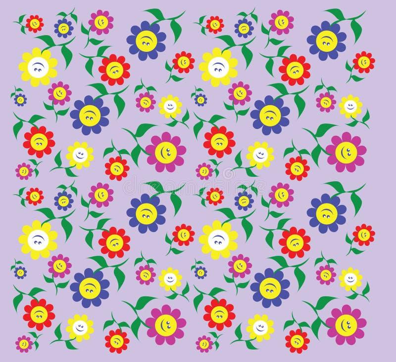 Teste padrão com as flores em cores e em tamanhos diferentes ilustração royalty free