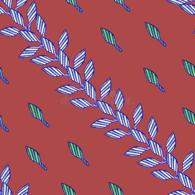 Teste padrão com as folhas azuis no fundo vermelho no estilo africano ilustração stock