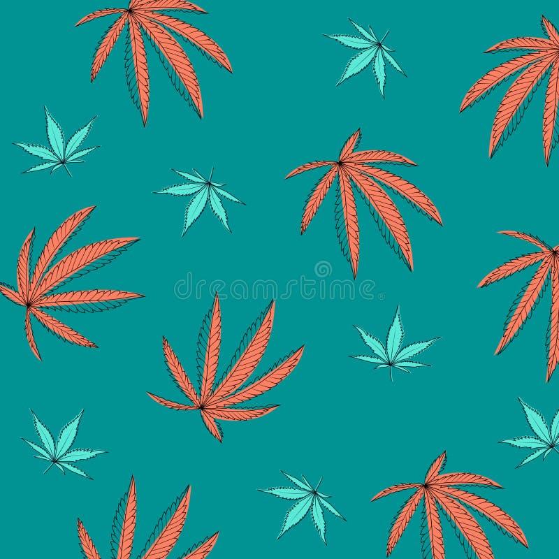 Teste padr?o com as folhas do c?nhamo da marijuana ilustração stock