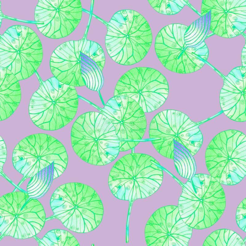 Teste padrão com as folhas verdes no rosa ilustração stock