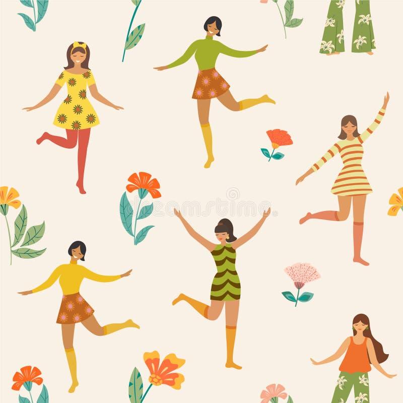 Teste padrão com as meninas e as flores de dança bonitos no estilo retro Textura sem emenda do vetor ilustração royalty free