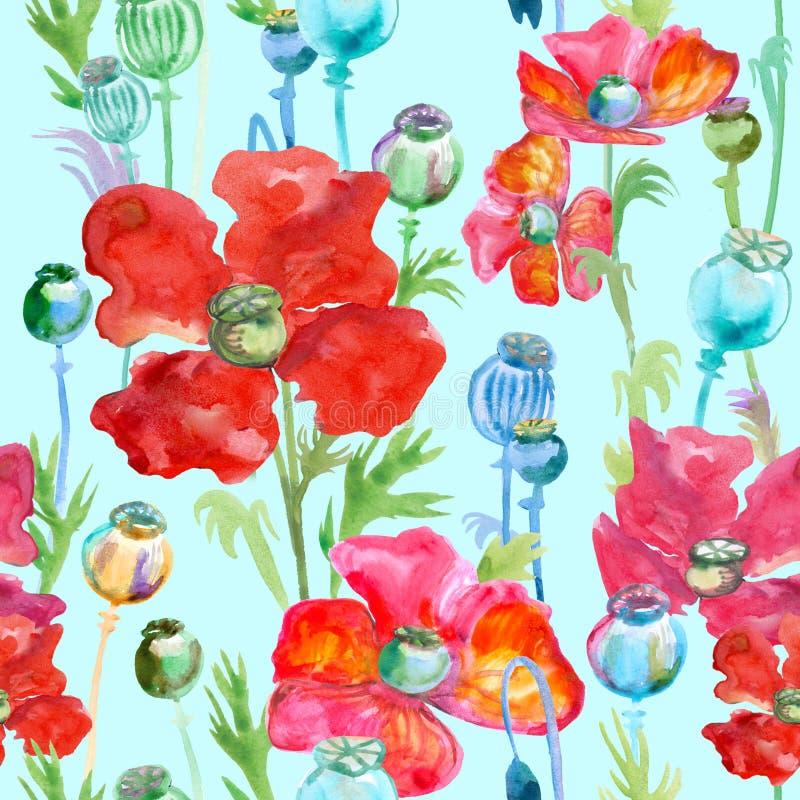 Teste padrão com as papoilas vermelhas pintadas na aquarela ilustração royalty free