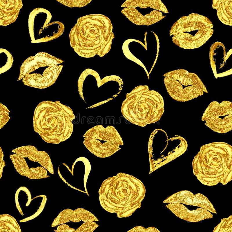 Teste padrão com beijos, rosas e corações dos bordos do ouro ilustração stock