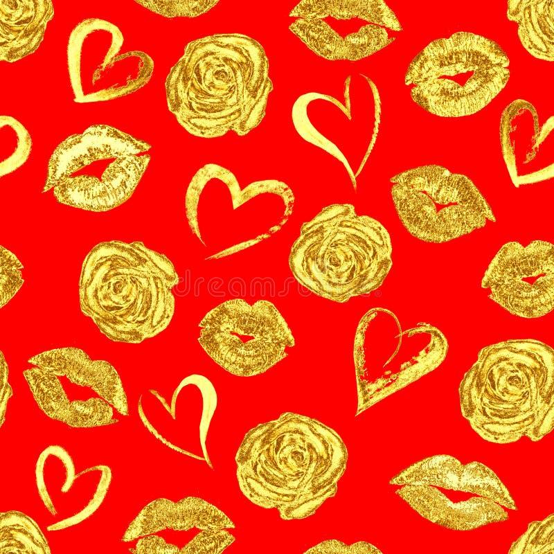 Teste padrão com beijos, rosas e corações dos bordos do ouro ilustração royalty free