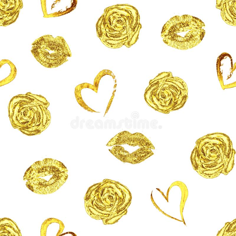 Teste padrão com beijos, rosas e corações dos bordos do ouro fotos de stock