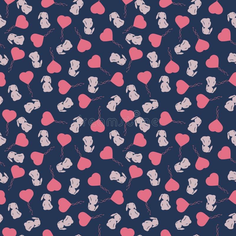 Teste padrão com bicicletas e balões do coração ilustração do vetor