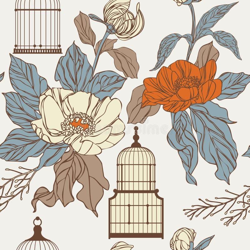 Teste padrão com birdcages e folhas ilustração do vetor