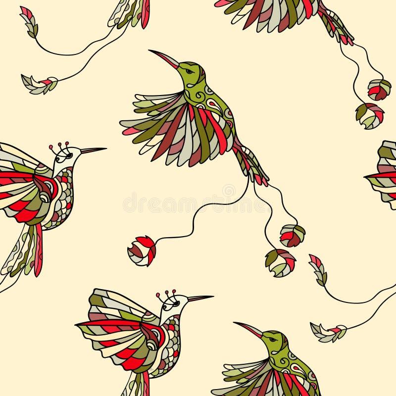 Teste padrão com colibri dos pares ilustração do vetor