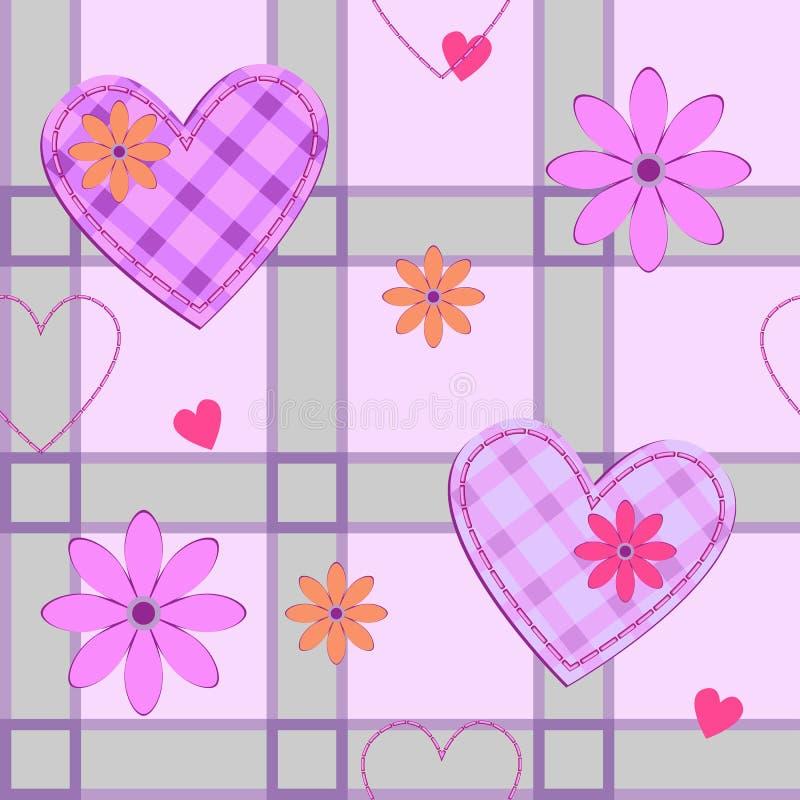 Teste padrão com corações e teste padrão verificado ilustração do vetor