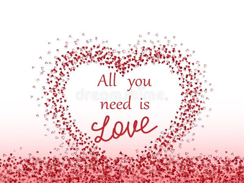 Teste padrão com corações Fundo do dia do ` s do Valentim A inscrição 'tudo que você precisa é amor Ilustração do vetor do ` ilustração stock