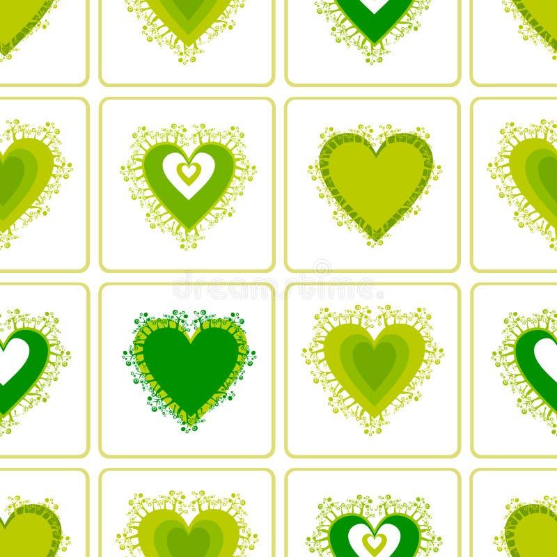 Teste padrão com corações verdes da mola. foto de stock