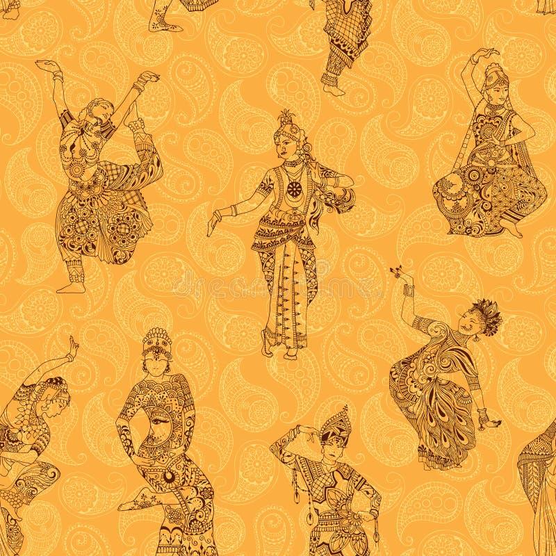 Teste padrão com dançarinos indianos ilustração royalty free