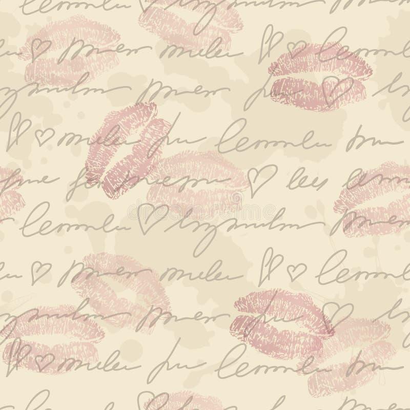 Teste padrão com elementos da escrita da mão ilustração royalty free