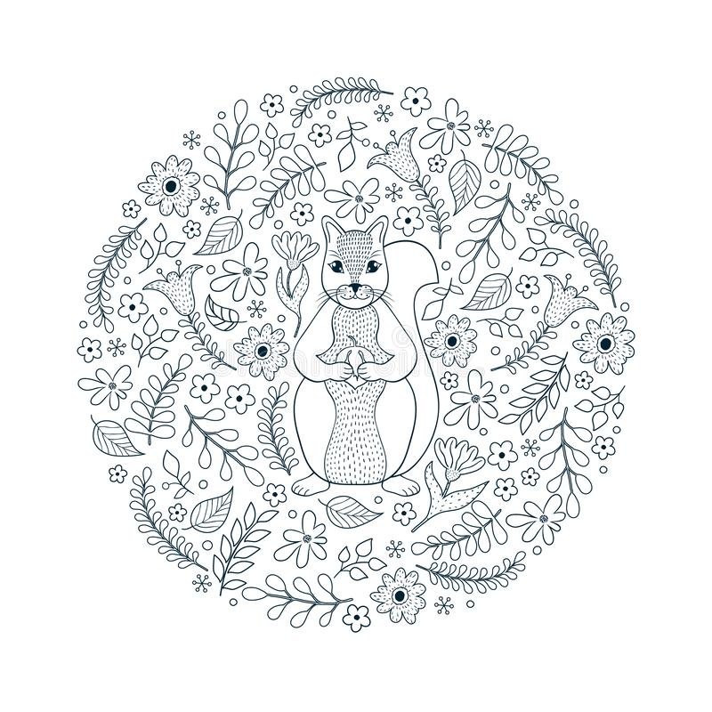 Teste padrão com esquilo e flores ilustração stock