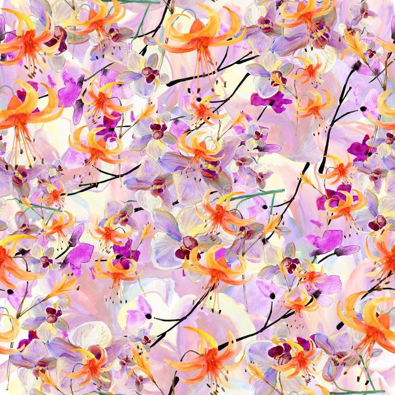 Teste padrão com flores ilustração do vetor