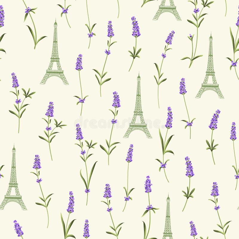 Teste padrão com flores da alfazema ilustração stock