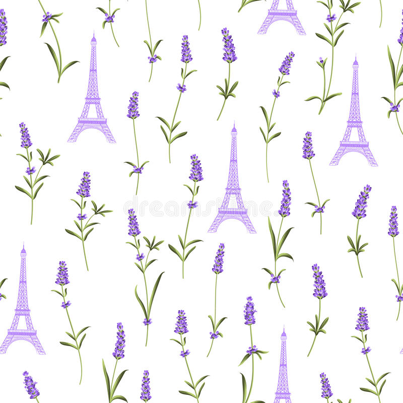 Teste padrão com flores da alfazema ilustração royalty free