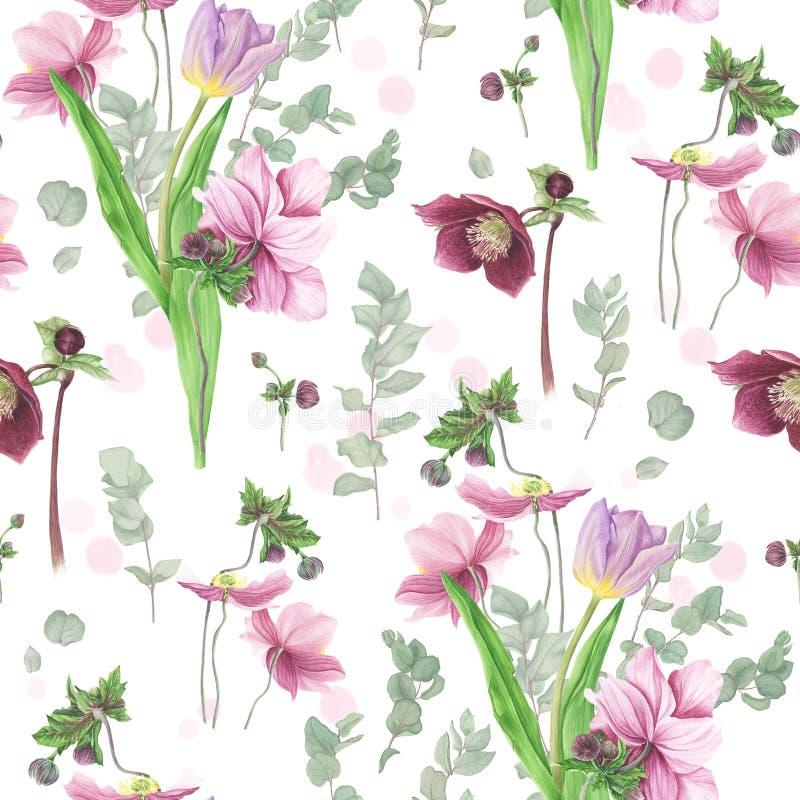Teste padrão com flores da mola, pintura da aquarela ilustração do vetor