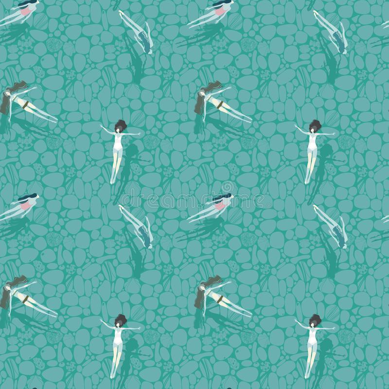 Teste padrão com flutuação em um rio bonito transparente das meninas ilustração royalty free