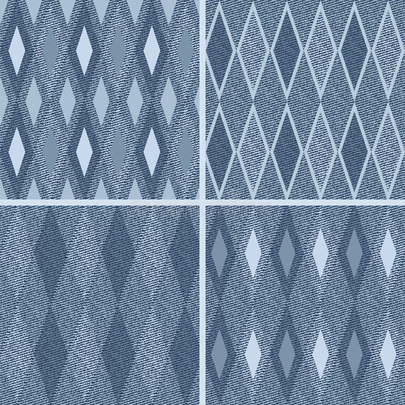 Teste padrão com fundo das calças de brim da sarja de Nimes ilustração royalty free