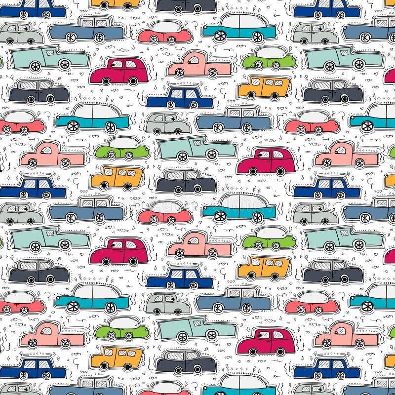 Teste padrão com fundo tirado mão dos carros da garatuja ilustração royalty free
