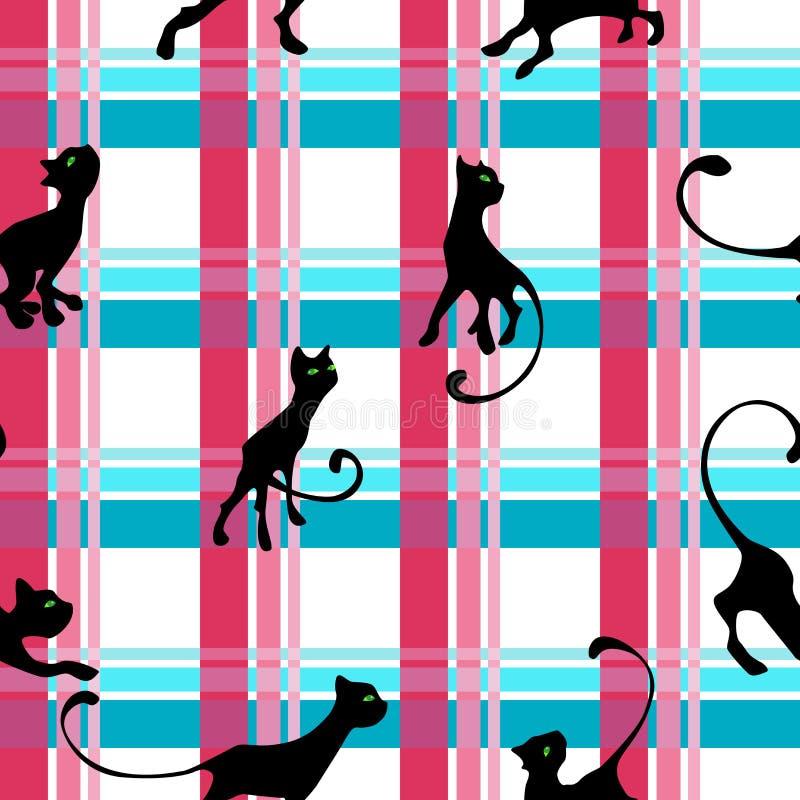 Teste padrão com gatinho ilustração stock