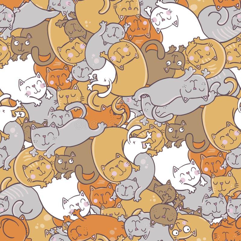 Teste padrão com gatos ilustração do vetor