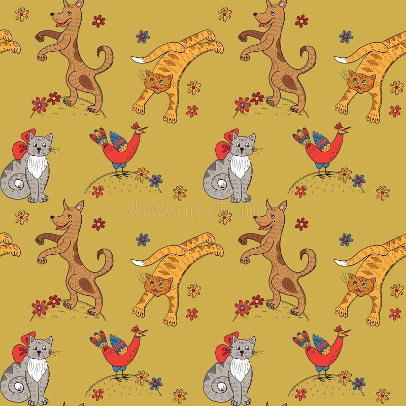 Teste padrão com gatos, cães, galinhas e flores ilustração stock