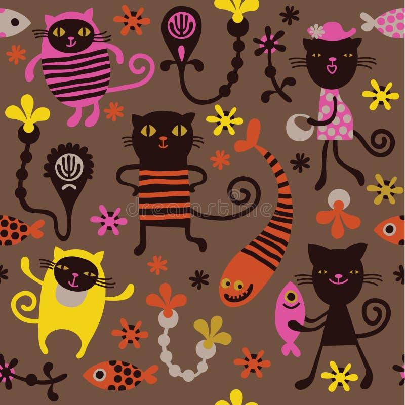 Teste padrão com gatos do divertimento ilustração do vetor