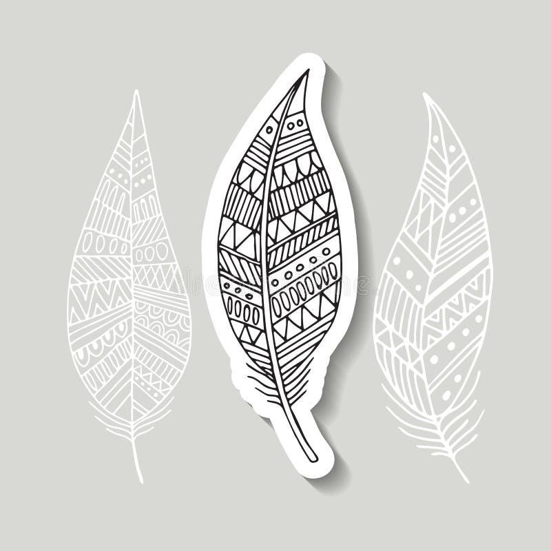 Teste padrão com a imagem de penas de pássaro Estilo de Boho Ilustração do vetor ilustração royalty free