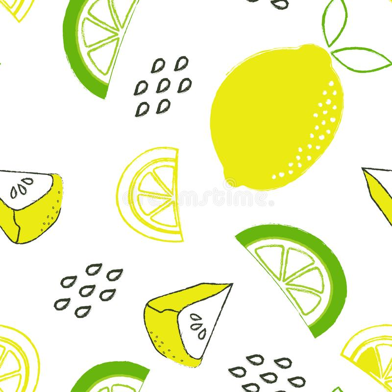 Teste padrão com limão e torta ilustração royalty free