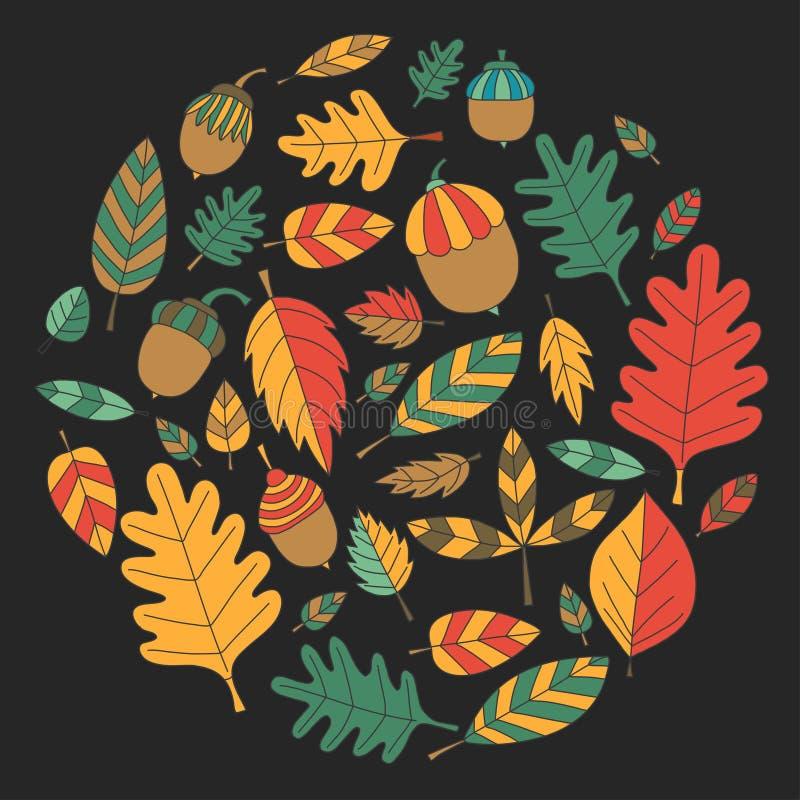 Teste padrão com o Linden da bolota de Mapple do carvalho das folhas de outono ilustração royalty free