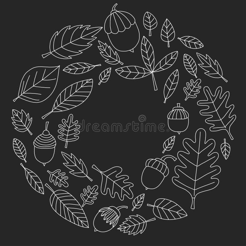 Teste padrão com o Linden da bolota de Mapple do carvalho das folhas de outono ilustração stock